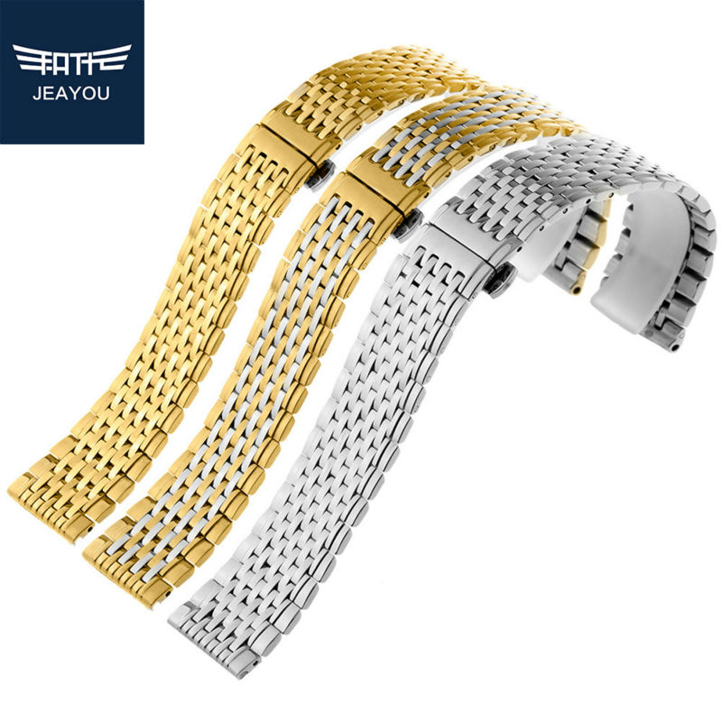 JEAYOU Women Stainless Steel Watch Strap Watch Band Only For Longines With Deployment Button 13mm 18mm часы longines