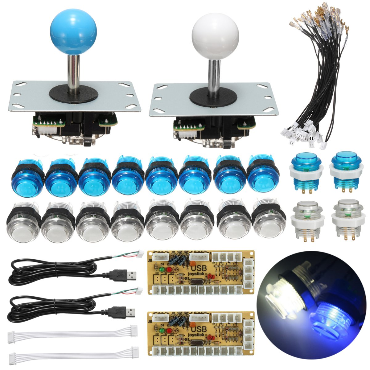 2 Players Delay Joystick Arcade DIY Kit Parts LED Push Button+Joystick+USB Encoder Controller For Mame For Raspberry Pi 3(China)