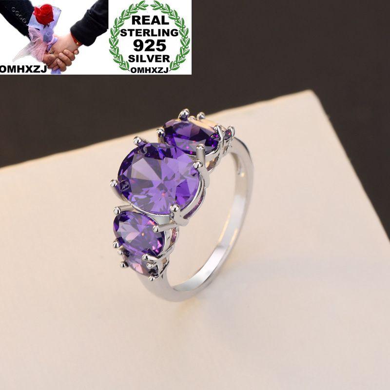 OMHXZJ Wholesale European Fashion Woman Man Party Wedding Gift Silver Purple Amethyst 925 Sterling Silver Ring RR160
