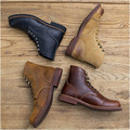 Alta ayuda de la piel de la cabeza que restaura maneras antiguas botas y nombre de los hombres Hechos A Mano de cuero botas de Martin botas de Trabajo