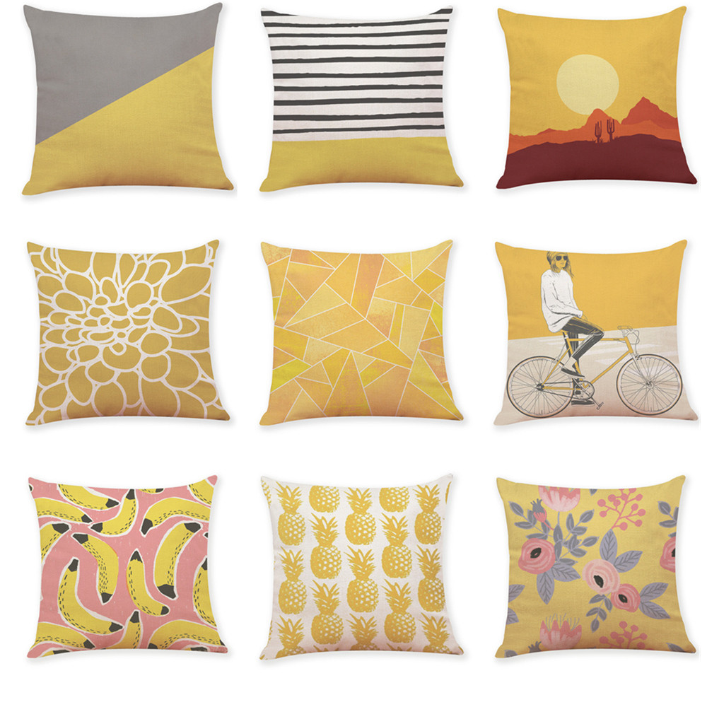 Ouneed Yellow Style Printing Throw Pillow Case Decorative Pillows For Sofa Car Seat Cushion Cover 45x45cm Home Decor