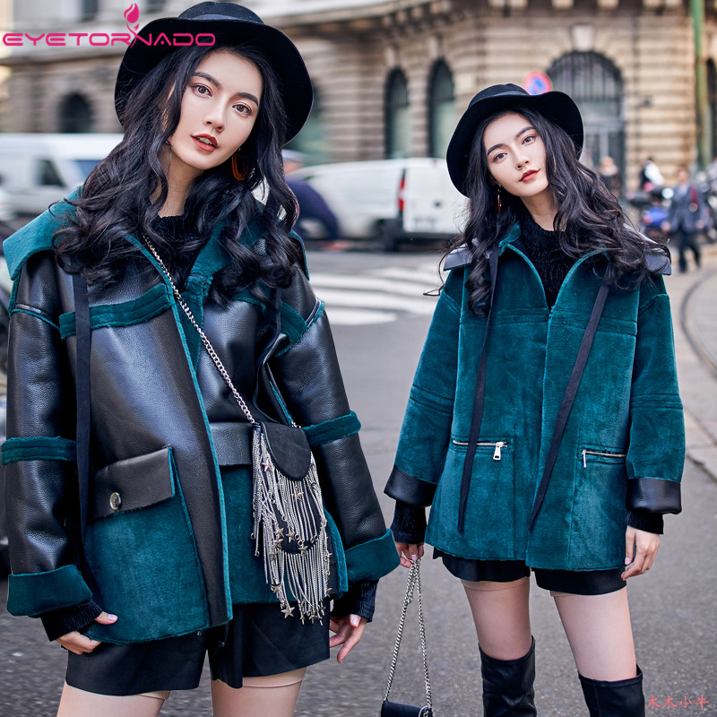 Women winter faux   leather     suede   two sides reversible wear punk street jacket casual oversize warm bomber motorcycle jacket coat