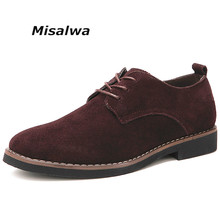 Misalwa Mens Brogue Casual Shoes Suede leather Black Brown Soft 2019 Big Plus size Wearing Oxfords Leisure Male Formal
