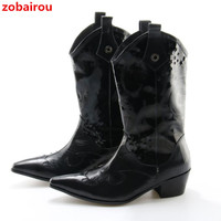 Zobairou Men's Genuine Leather Boots Pointed Toe Outdoor Waterproof Cowboy Leisure Martin Business Office Formal Shoes For Mens