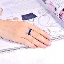 Fantastic Blue Princess Sapphire Diamond Ring Real 14K White Gold Luxury Design Wholesale Fine Jewelry for Couple