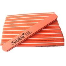 BlueZoo 10pcs Orange Professional Round Head Double Side Diamond Fancy Nail File Buffer Sanding Washable Nail Art Manicure Tool