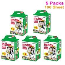 100 pcs folha de filme instantâneo fujifilm fuji instax mini 8 branco para polaroid 7 s 8 10 20 25 50 s 50i sp1 fujifilm instax mini câmera