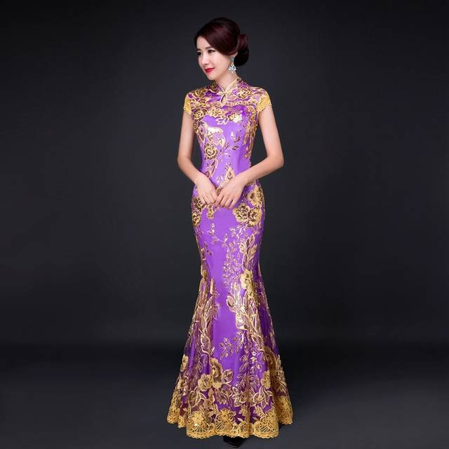 Blue Fishtail Lace Cheongsam Gold Thread Embroidery Sequins Long Qipao  Chinese Dress Traditional Robe Chinoise Abendkleider 20475b46cd08