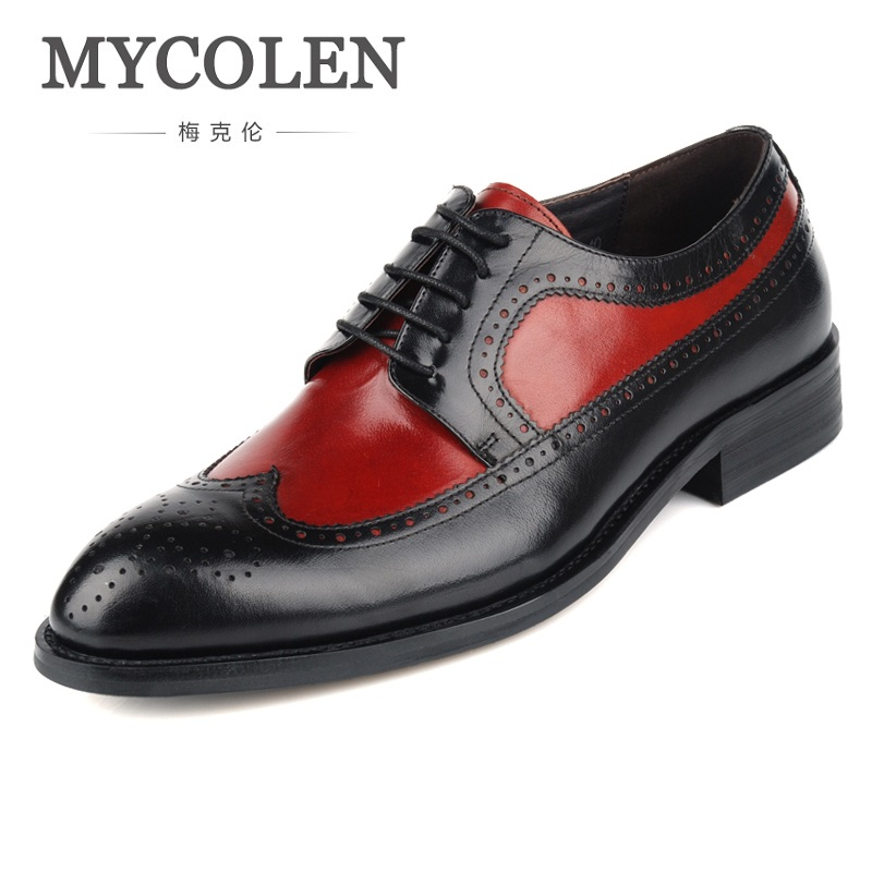 MYCOLEN Luxury Designer Vintage Style Formal Mens Dress Shoes Genuine Leather Flats For Men Wedding Office Derby Shoes 2017 new fashion italian designer formal mens dress shoes embossed leather luxury wedding shoes men loafers office for male