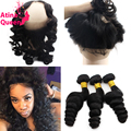 360 Lace Frontal with Bundle Peruvian Loose Wave 360 Closure and Bundles 360 Frontal Band with Bundles of Hair Natural Hairline