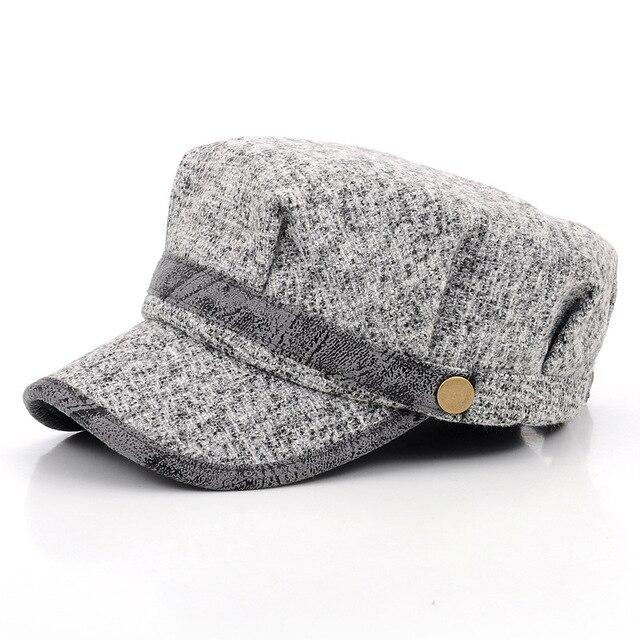 314c491db3e7f TELA ESCOCESA octogonal visera sombrero mujeres hombres boina plana ...