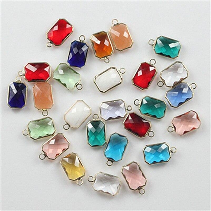 50 pcs 10x14mm facettes forme carrée perles de verre de cristal pour la fabrication de bijoux à bricoler soi-même charme connecteur de perles de verre pour la recherche de bijoux