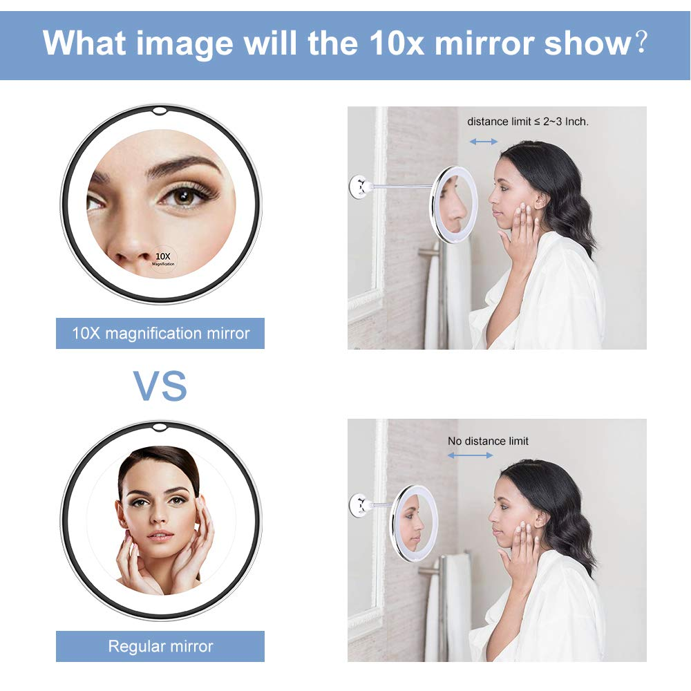 360 degree Flexible lighted Makeup Mirror 10x Magnifying vanity Shaving Mirror with LED light bathroom bedroom lamp night light 2