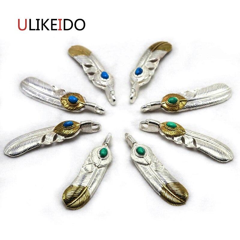 Pur 925 bijoux en argent Sterling charmes de plumes pendentif Vintage pour unisexe Thai argent collier chaîne Fine cadeau 614