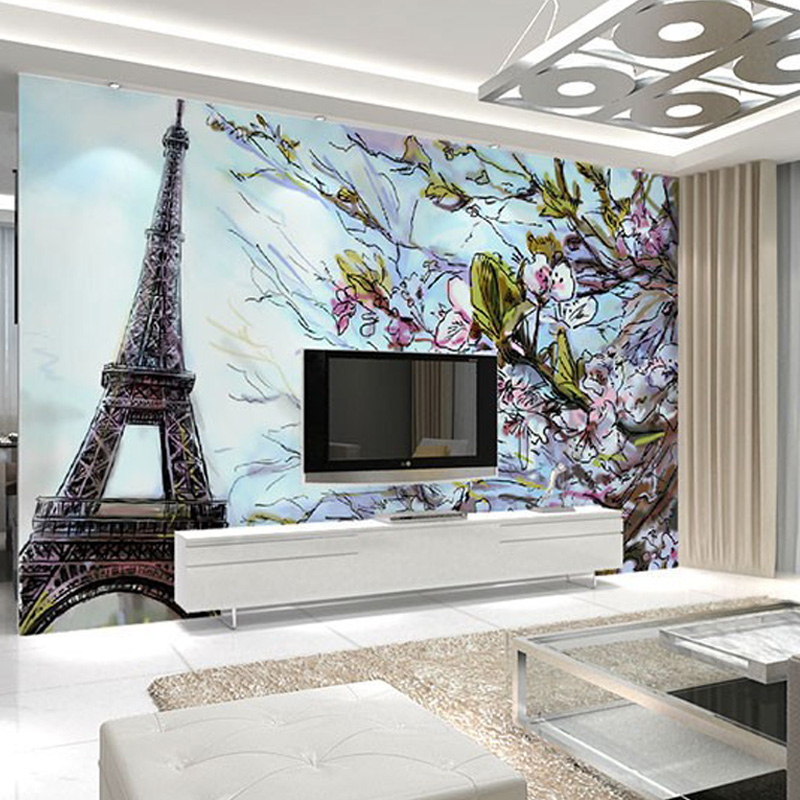 paris 3d eiffel wall poster tower bedroom living background mural any custom tv sofa