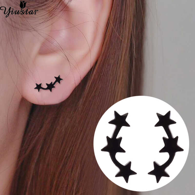 Yiustar Black Stainless Steel Earrings Unique Star Ear Studs Space Inspired Jewelry Charming aretes acero inoxidable Kids Gifts