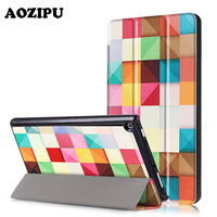 AOZIPU Print Case For Amazon Kindle New Fire HD 8 2017 Version Trifold PU Leather Smart