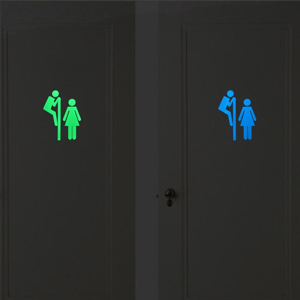 Funny Luminous Bathroom Sticker Home Decor Glow in the Dark Toilet Sticker Washroom Door Decorative Sticker Creative DIY Decal