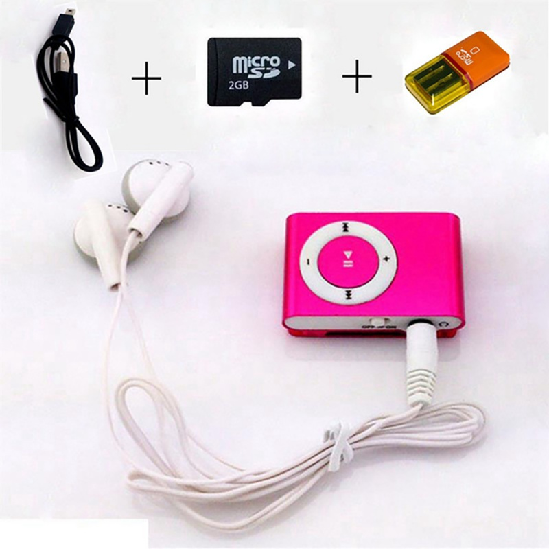 Colorful Mini Mp3 Music Player Mp3 Player Micro TF Card Slot USB MP3 Sport Player USB Port With Earphone 2GB TF Card