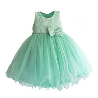 Tiffany Blue Girls Party Dress Pearl Collar Lace Flower Wedding Princess Dress Girls Clothes Roupas Infantis