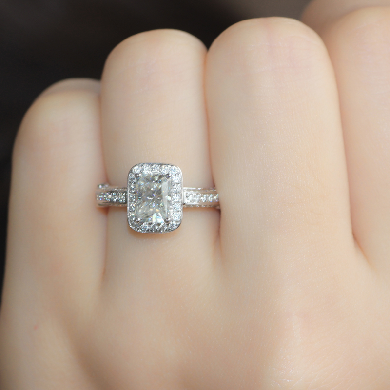 Queen Brilliance 1 2 Carat Radiant Cut Engagement Wedding Moissanite Diamond Ring 14k 585 White Gold Test Positive In Rings From Jewelry