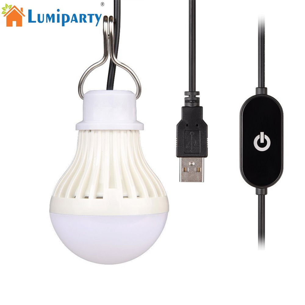 LumiParty Portable USB LED Light Bulb Dimmable LED Camping Lantern for Outdoor Tent Lighting Kids Bedside Lamp Emergency Light