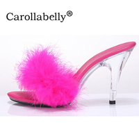 Big Size 34 44 Fashion Transparent Women Pumps Sexy Crystal 10cm High Heels Sandals with Feathers Sexy Nightclub Slides Shoes