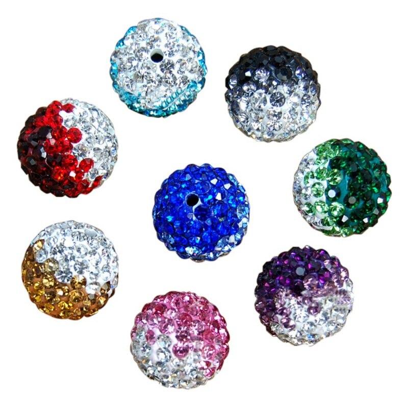 100 шт./лот 10 мм Disco Акрил Бисера Смешанный градиент изменения красочные кристалл Шамбалы Бусины