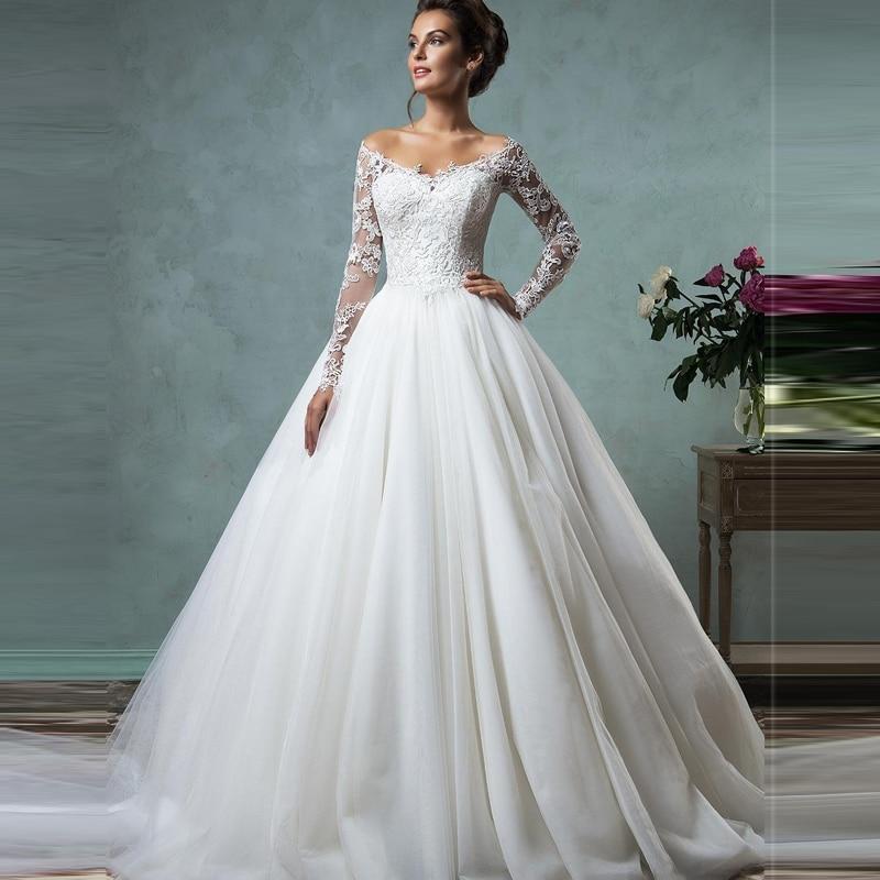 ffa9c09cce81 2017 Vestido De Novia Cheap Lace Wedding Dresses Long Sleeve Fall Winter  Bridal Gowns Plus Size Sexy Vintage Robe De Mariage