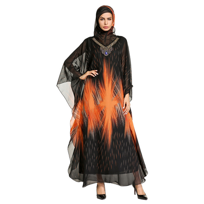 Orange firework fire pattern printed V neck diamond Muslim large sleeve dress with scarf,Islamic clothing gown abaya for girls