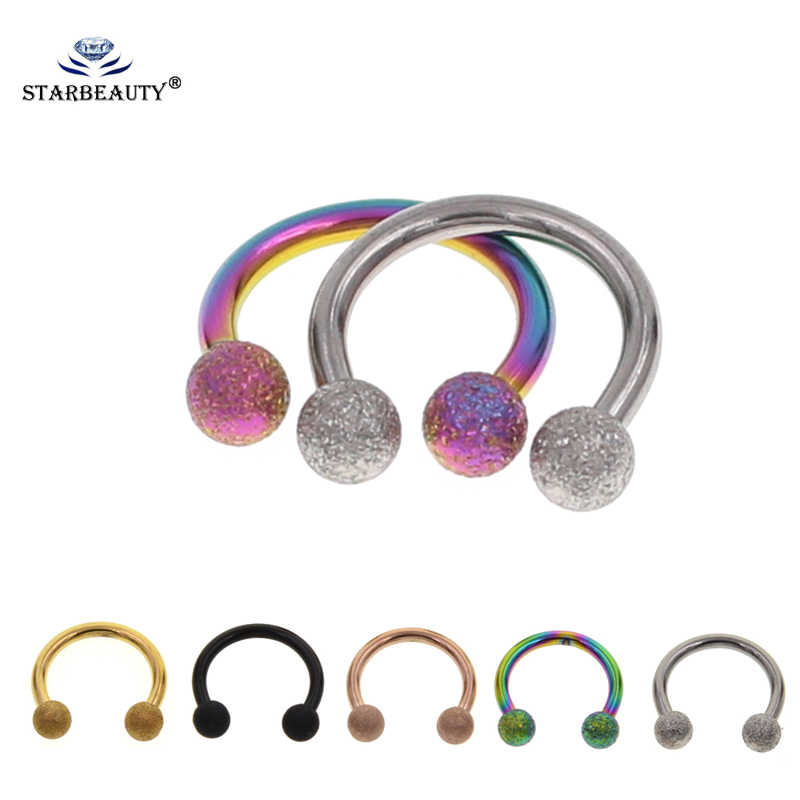 Starbeauty 2Pcs Mix Color 16G Gauge 3mm 316L Surgical Steel Piercing Horseshoe Circular Rings for Nose Eyebrow Lip Ear Stud