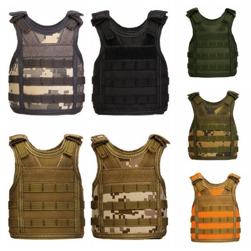 Tactical Beer Bottle Beer Vest Cover Military Mini Miniature Molle Vest Personal Bottle Drink Set Adjustable Shoulder Straps
