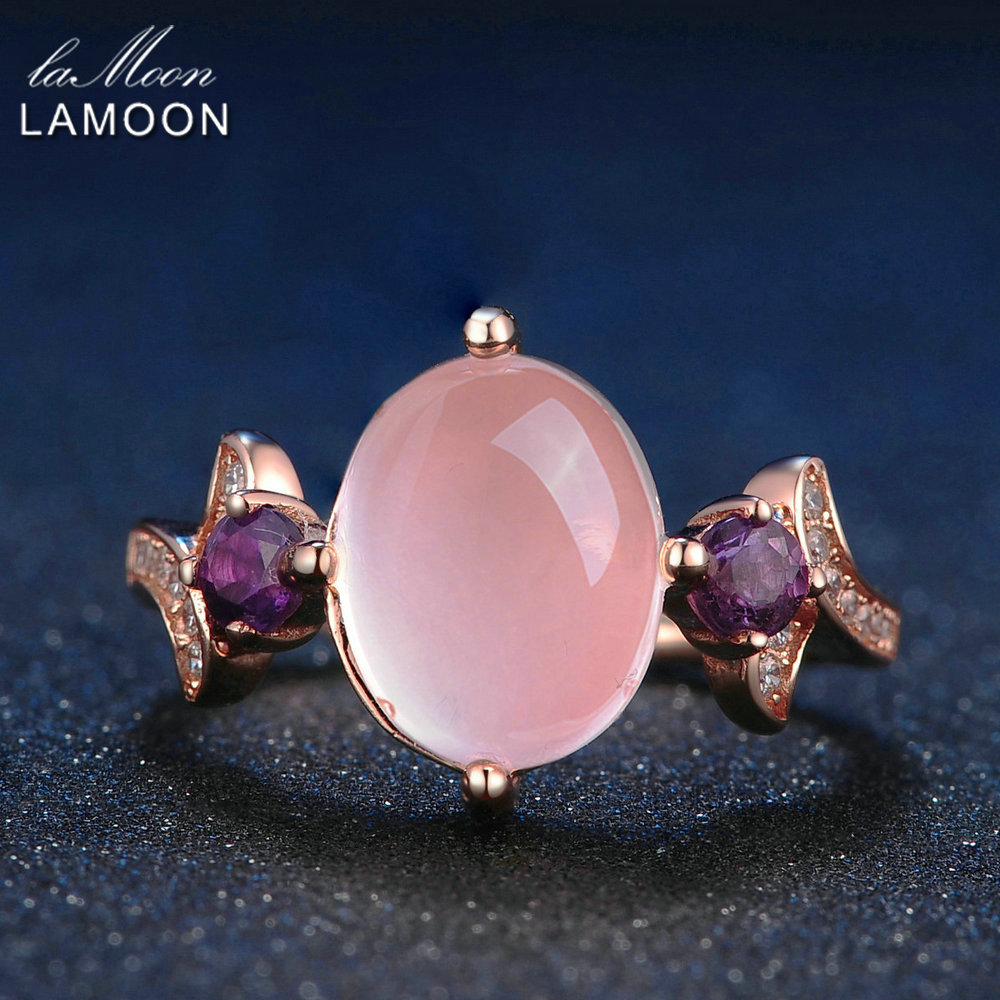 Lamoon 8x10mm 100% Natural Oval Pink Rose Quartz Ring 925 Sterling ...