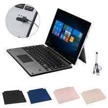 Ultra Slim Aluminum Alloy Wireless Bluetooth Keyboard Klavye PU Leather Cover Case for Microsoft Surface Pro 3 4 Tablets PC