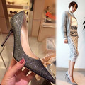 15 autumn pointed toe high-heeled shoes shallow mouth paillette genuine leather thin heels shoes silver wedding shoes sexy