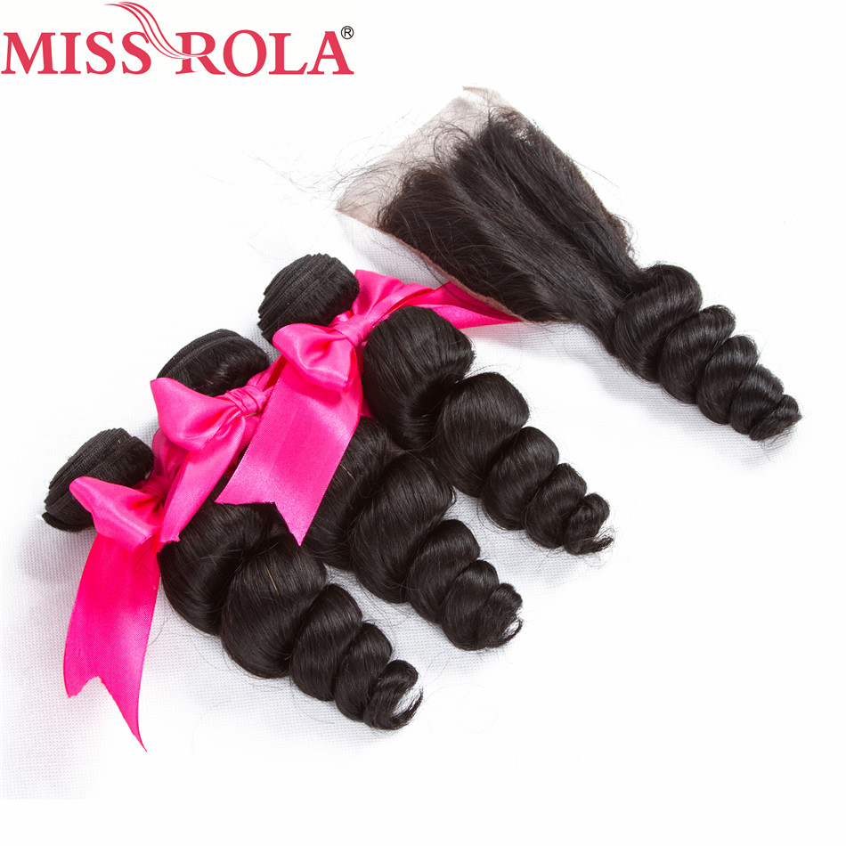 Miss Rola Hair Peruvian Loose Wave 3 Bundles With Closure Natural Color 100% Human Hair Extensions Non-Remy Machine Double Weft