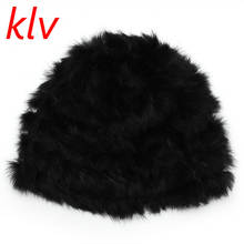 KLV Fashion Casual Russian Lady Rabbit Fur Knitted Cap Women Winter Warm Beanie Hat 4 Colors