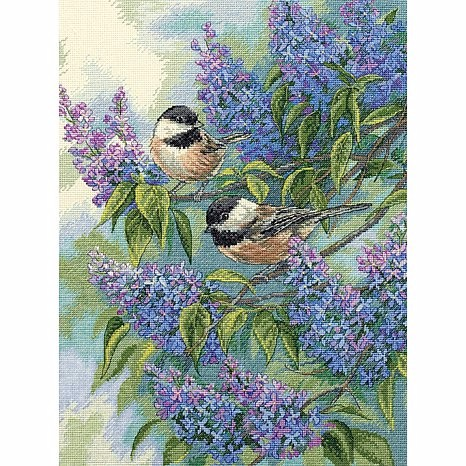 CS-1655 Cross Stitch Kit Chickadees and Lilac Purple Flower and Bird dim 35258
