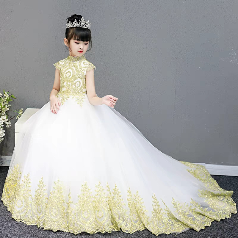 Luxury Children S Model Catwalk Evening Party Embroidery Lace Fluffy Long Tail Dress Kids Birthday Wedding Prom