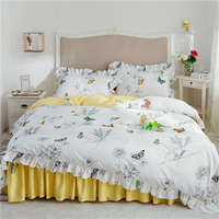 White Leaves flower Bedding Set Duvet Cover Comforter case Bedding Sets Queen King Twin Size Romantic Bed Set Luxury quilt Cover