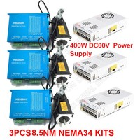 3PCS 8.5Nm Nema34 86MM AC DC DSP Closed Loop Stepper Motor Driver & 400W 60V DC Power Supply Hybird Encoder Easy Step Servo Kits
