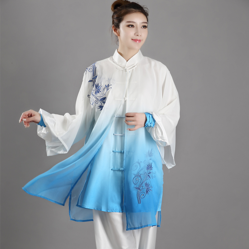 Gradient Color Tai Chi Uniform Traditional Chinese Clothes Embroidered Martial Arts Suit Kung Fu Morning Exercise Sportswear