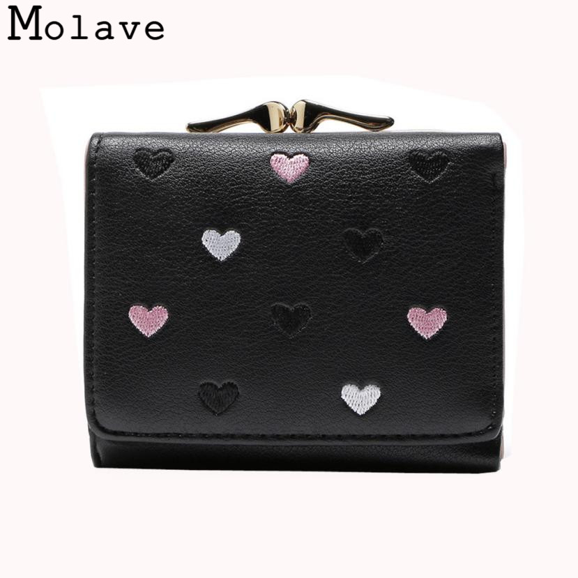 Naivety Short Wallet PU Leather Wallets Female Embroidery Heart Thread Coin Purse Cute Hasp Bag 30S71208 drop shipping naivety drop shipping women cute coin purse pu leather cartoon rabbit printing short wallet animal monedero de la moneda 28s7626