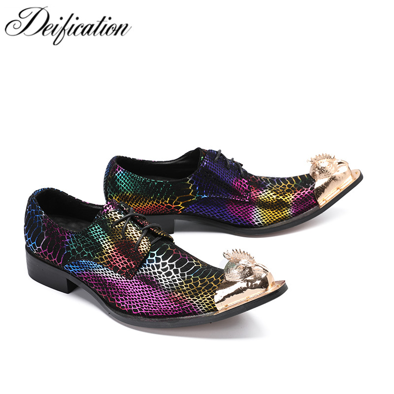 Deification Zapatos Hombre Vestir Mixed Colors Mens Dress Shoes Gold Pointy Men Leather Prom Shoes Lace Up Oxford Party Loafers