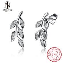 INALIS Fashion Jewelry 925 Sterling Silver Leaf Olive branch Stud Earrings for Woman Elegant Cute Earrings
