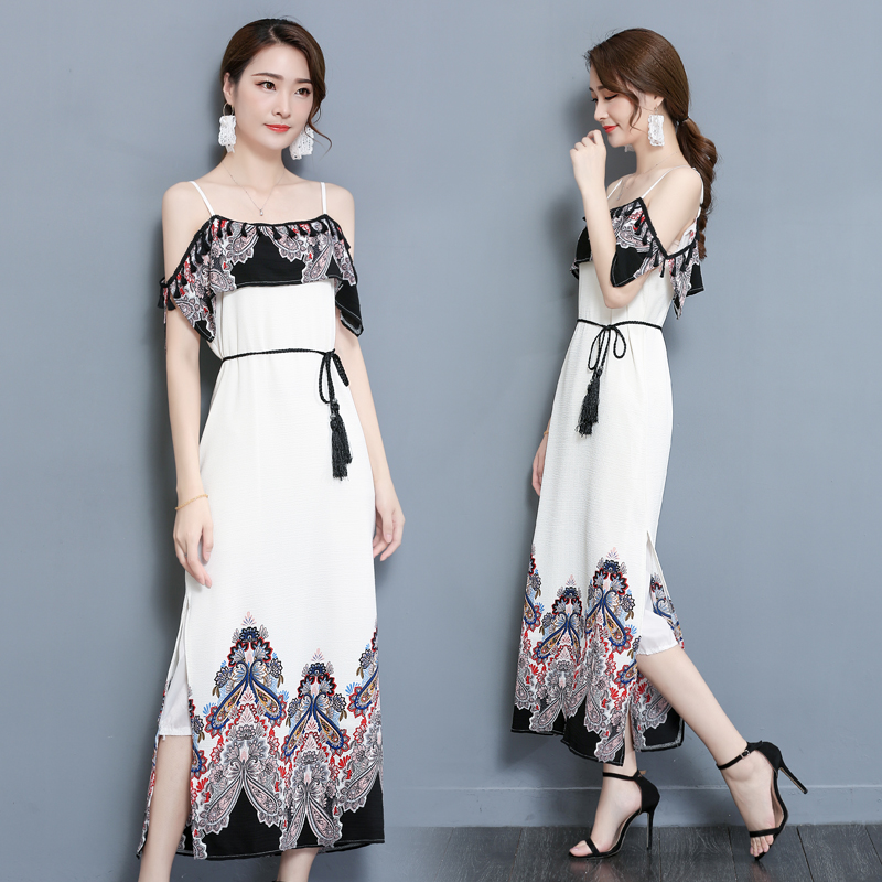 2018 New Summer Vintage Women Long dress Spaghetti Strap Tidal Cents A Word Shoulder And Ankle Students In Love Dresses 2176