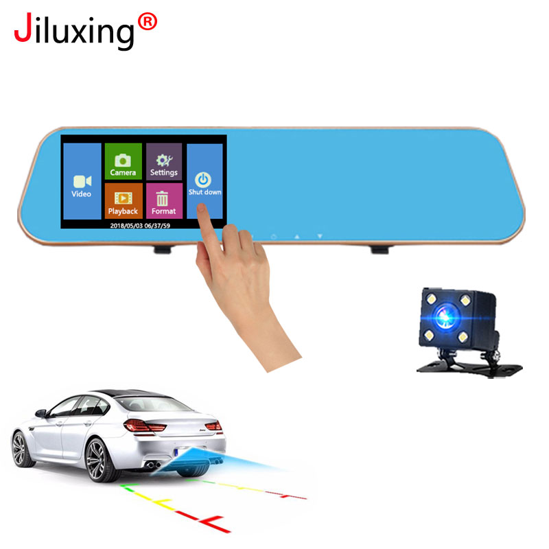 Jiluxing H09S 4.3'' 1080P <font><b>Car</b></font> <font><b>DVR</b></font> touch screen <font><b>car</b></font> camera rearview mirror <font><b>two</b></font> <font><b>cameras</b></font> dash cam Auto Registrator Video Recorder image