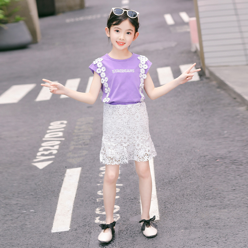 2019 Summer Girls Korean Letter Printed Lace Decorative Sleeveless Shirt + Lace Hollow Skirt Two-piece Fashion Children Clothing(China)
