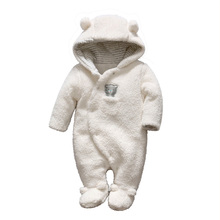 Newborn baby romper boy bear baby and girls clothes hooded plush jumpsuit winter overalls for kids roupas infantil baby clothing