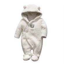 цены на Newborn baby romper boy bear baby and girls clothes hooded plush jumpsuit winter overalls for kids roupas infantil baby clothing в интернет-магазинах